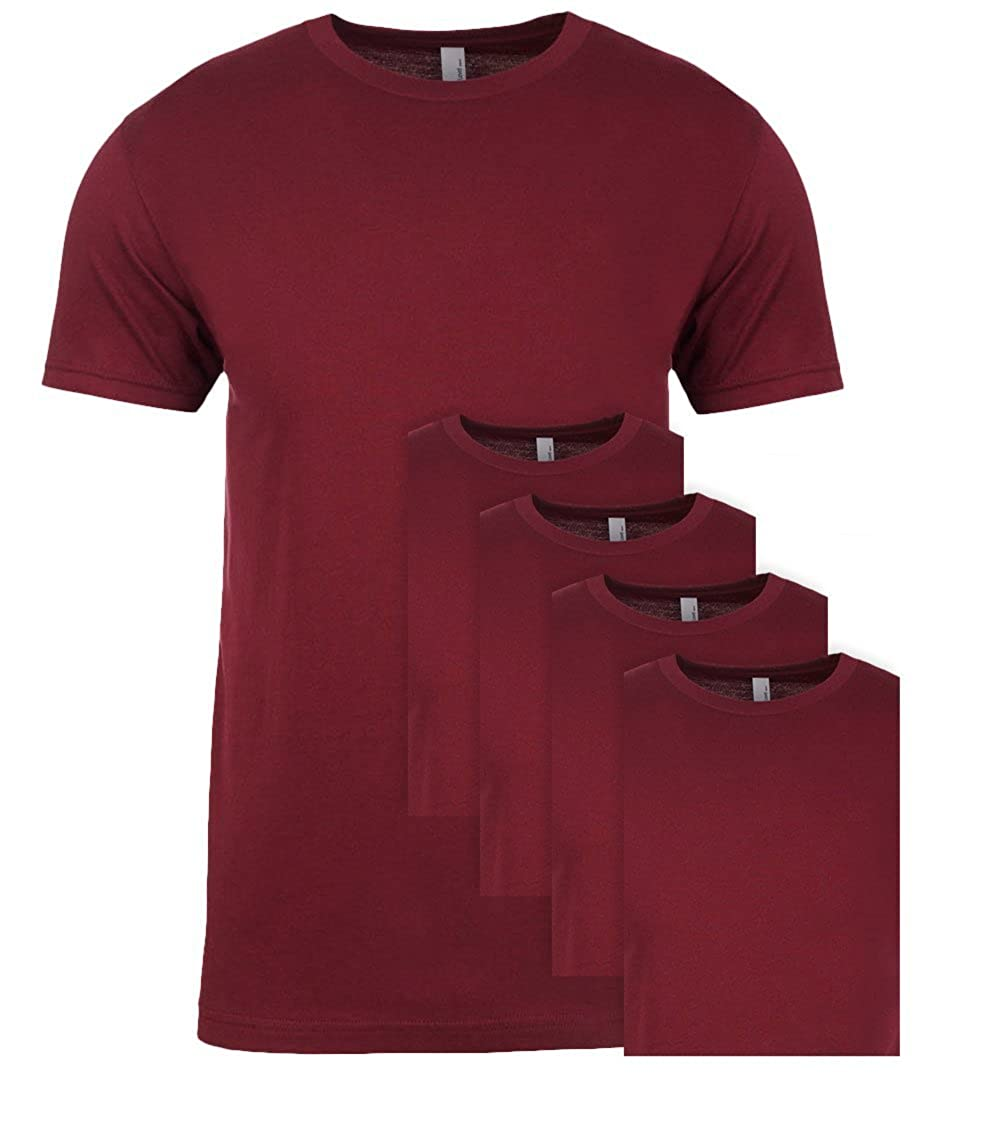 5 Pack Next Level NL3600 100/% Cotton Premium Fitted Short Sleeve Crew Maroon
