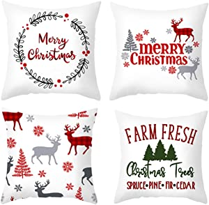 HYOUNINGF 4 Pack Christmas Pillow Case Cushion Cover 18 x 18 Inch, Christmas Throw Pillow Case