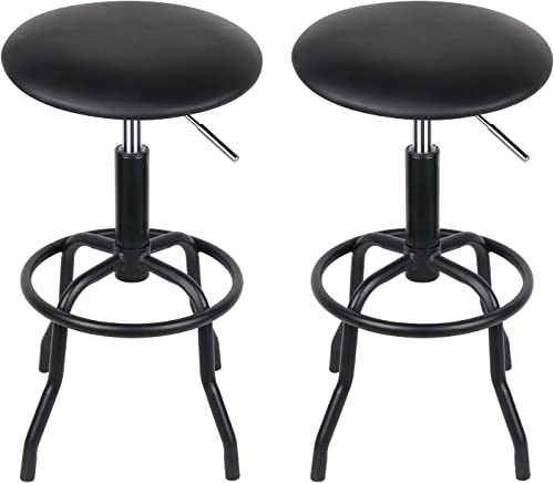 Leopard Work Chair with Black Cushion, Swivel Chair with Footrest, Adjustable Height Stools, Black – Set of 2
