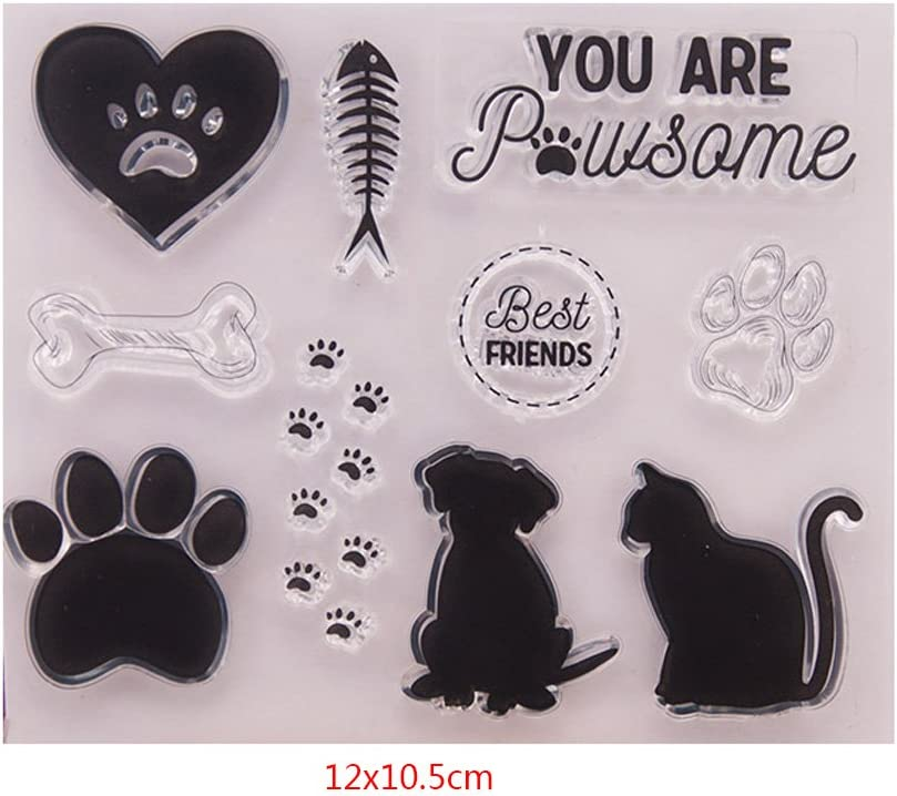 Haayward Clear Stamps for Cards Making Sheets Scrapbook Rubber Silicone for Dog Cat DIY Scrapbooking Seal Photo Album Wish Decorative Kits