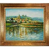 overstockArt El Sena en Vetheuil de Monet Pintura con marco de madera de Viena, Acabado en Hoja de Oro
