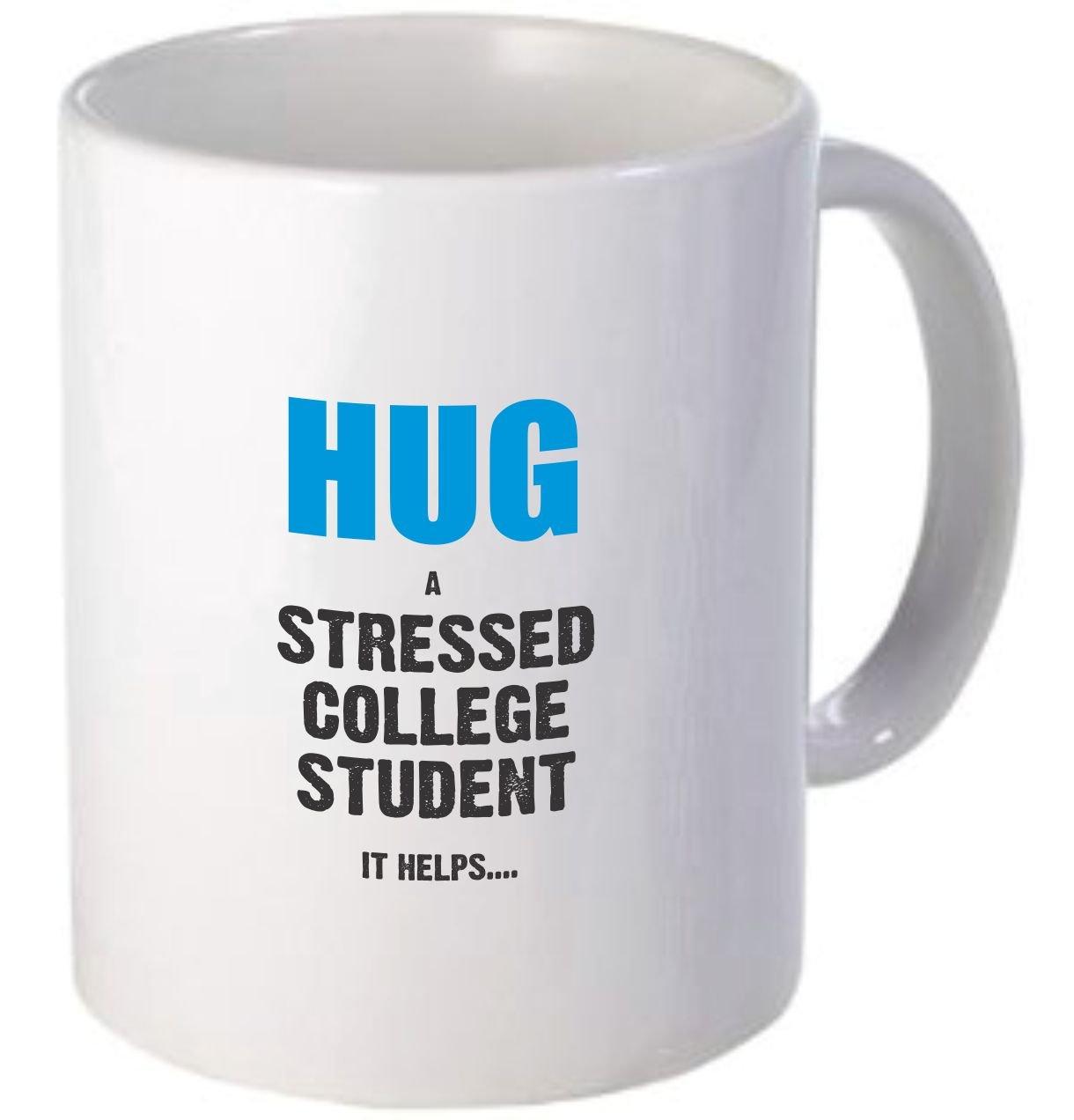 Rikki Knight CFS-Dis-3848 Hug a Stressed College Student Blue Design Funny Quotes Design Ceramic Coffee Mug Cups, 11 oz, White