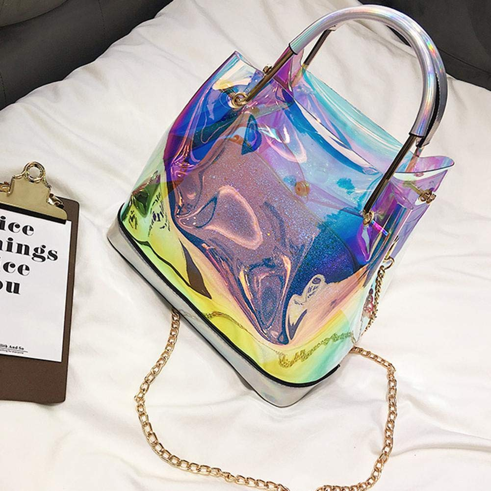 Handbag Mini Hologram Clear Cross Body Purse Shoulder Bag Handbag Travel Beach Tote Bag Hologram Shining Cross Body Bag Transparent Sling Bag Clear Beach Waterproof Swimming Purse for Women