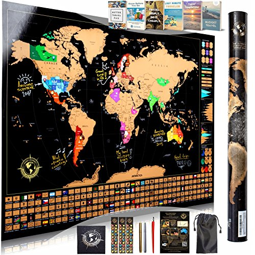 Scratch Off World Map Wall Poster - Ultimate Pack of Tools and Travel Ebooks - Stylish Large 34x24 Trip Tracker with US States, Infographics, Flags and More - Combines The Best of Scratch-Off Maps by Shiny Journey