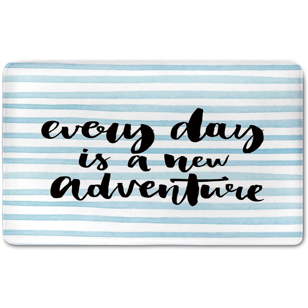 Memory Foam Bath Mat,Adventure,Every Day is a New Adventure Quote Inspirational Things About Life ArtworkPlush Wanderlust Bathroom Decor Mat Rug Carpet with Anti-Slip Backing,Baby Blue Black