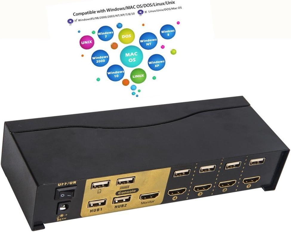 Linux HUB Dispositif de Partage dOrdinateur Multiple 4 Port 4 en 1 out Convertisseur Convertisseur PC Monitor Pour Win98 // ME // 2KP4 // XP // 2003 MAC 1080P 1.4 HDMI Commutateur USB KVM HDMI Apple