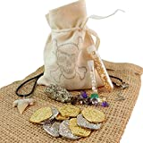 15 Pcs Collection - Pirate Treasure Pouch Set - 5 Gold and 5 Silver Pirate Coins, Shark Tooth Necklace, Pyrite Stone, 7 Pearls, Gold Flake Filled Vial, and 25 Carats of Colorful Gems in Canvas Pouch