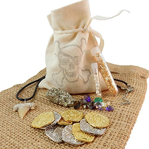 Pirate Treasure Pouch Set 15 Pcs Collection - 5 Gold and 5 Silver Pirate Coins, Shark Tooth Necklace, Pyrite Stone, 7 Pearls, Gold Flake Filled Vial, and 25 Carats of Colorful Gems in Canvas