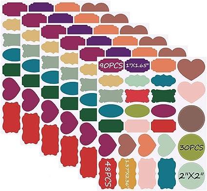 Etiquetas de pizarra, autoadhesivas 168 Pegatinas de pizarra de colores Pegatinas de etiqueta en blanco pequeñas reutilizables impermeables para organizador de hogar y oficina: Amazon.es: Oficina y papelería