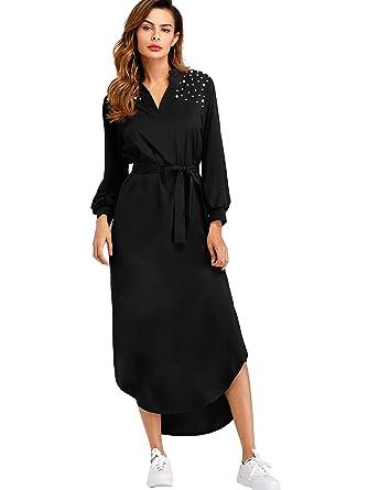 b56127efc52 Milumia Women s Pearl Beaded Self Tie Waist Curved Hem Long Sleeve Shift  Dress Black S