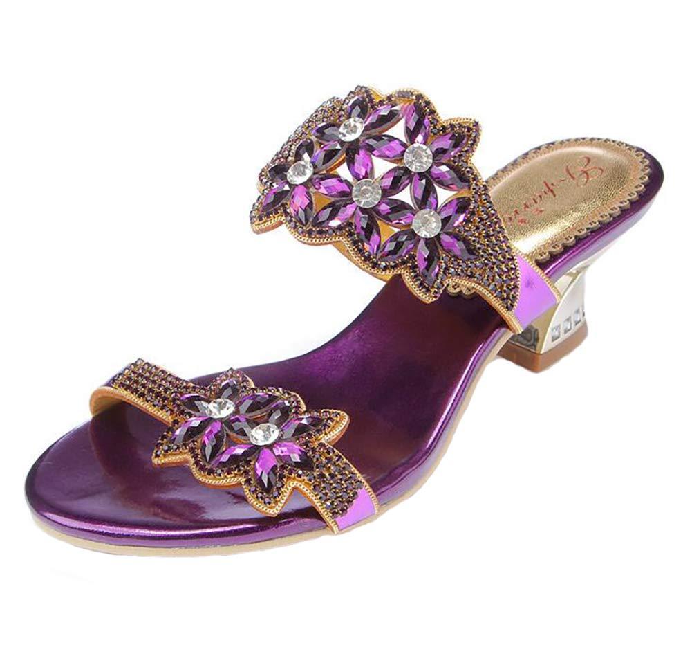 Purple Sandals for Women's, Flat Summer Glitter Beach shoes Open Toe Casuals Slippers