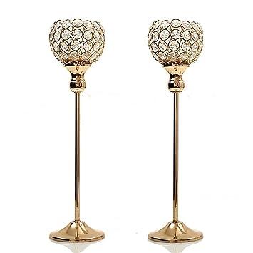 Amazon De Duoshida Gold Crystal Kerzenhalter Couchtisch Deko