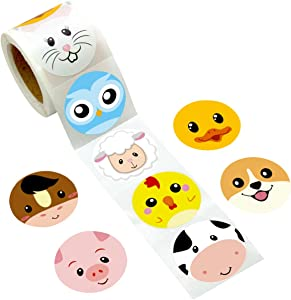 Farm Face Animal Sticker Perforated 200Pcs Per Roll for Kids Party Favor