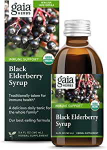 Gaia Herbs Black Elderberry Syrup - Daily Immune Support with Antioxidants, Organic Sambucus Elderberry Supplement, 5.4 Fl Oz (Pack of 1)