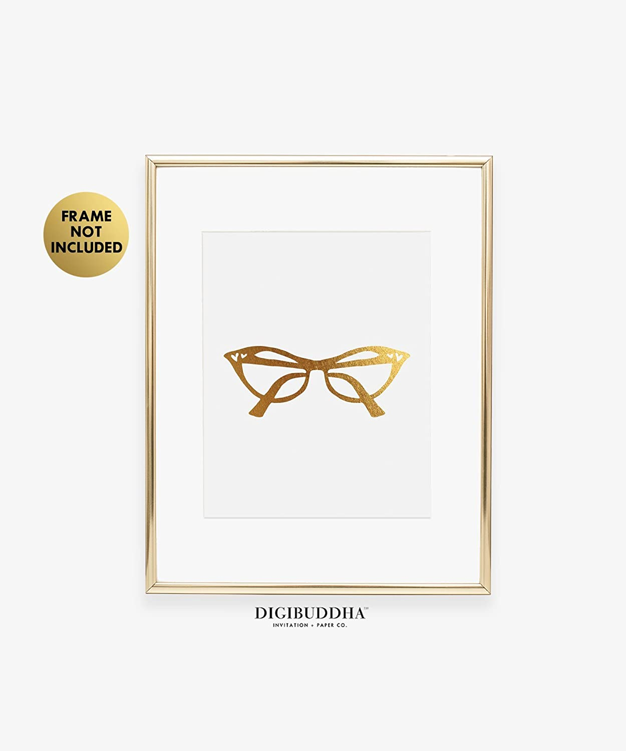 331b57187ddf Amazon.com: Cat Eye Glasses Gold Foil Vintage Print Fashion Poster Office  Glam Wall Art Room Decor 8 inches x 10 inches C44: Handmade