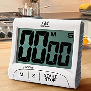 """HOME MOST 3"""" Large Display Kitchen Timer - Digital Timer Magnetic Back Loud Alarm On A Rope- White Cooking Timers For Kitchen Teachers Students Games Kids Meetings - Sports Timer For Workouts Exercise"""