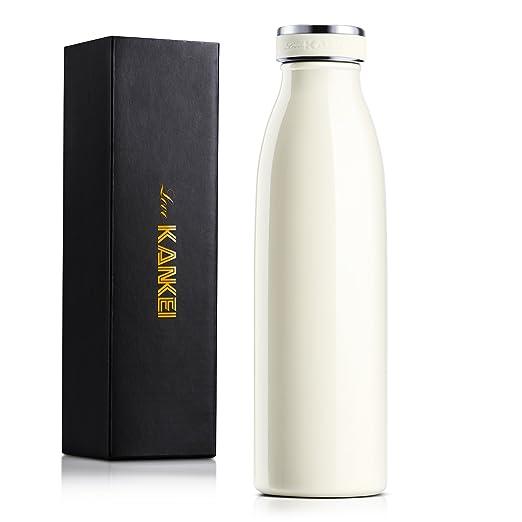 Love-KANKEI® La botella con aislamiento térmico de acero inoxidable de doble pared contiene agua caliente 12h y agua fría 24h-Para agua, café, leche, ...