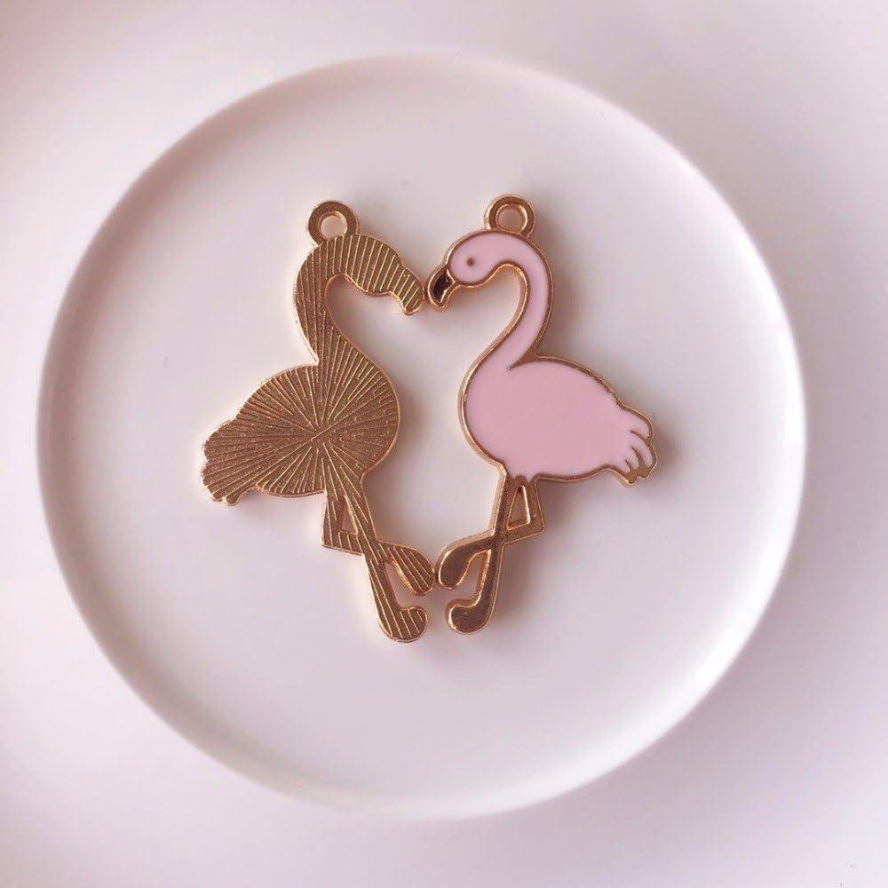 Yalulu Lot de 40 Breloque Pendentifs en Motif Charms Flamant Rose pour DIY Collier Bracelet Fabrication de Bijoux D/écor de F/ête de Mariage Rose