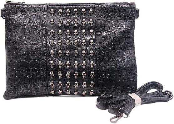 Chikencall Womens Punk Skull Print Crossbody Bag PU Leather Gothic Skull Bag