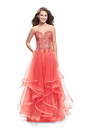 3a1c6bb738f La Femme - 25515 Beaded Lace Applique Strapless Tulle Dress at Amazon  Women s Clothing store