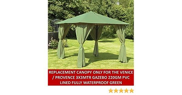 Gazebo toldo de repuesto para Provence/Venecia 3 x 3 mtr Gazebo en verde: Amazon.es: Jardín