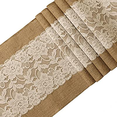 "Ling's moment 12x108 Inch Burlap and Lace Table Runner Spring Easter Decorations Country Rustic Barn Wedding Decorations, Farmhouse Decor, Baby & Birdal Shower Decoration - It is Vintage and will give a shabby chic touch to your wedding table, shower, party, farmhouse or any occasion. Material: natural khaki jute weave + white lace Measurments: approx 12"" width x 108"" length - table-runners, kitchen-dining-room-table-linens, kitchen-dining-room - 61BzU5yewKL. SS400  -"