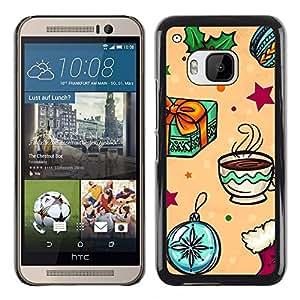 TopCaseStore / la caja del caucho duro de la cubierta de protección de la piel - Gift Merry Winter Kids - HTC One M9