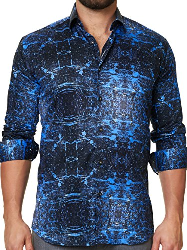 Maceoo Mens Designer Dress Shirt - Stylish & Trendy- Blue - Tailored Fit by Maceoo