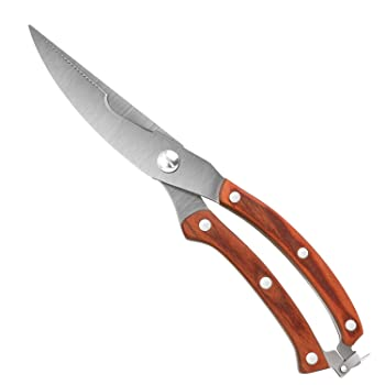 Proshear Heavy Duty Kitchen Shears With Spring Loaded Wood Handle