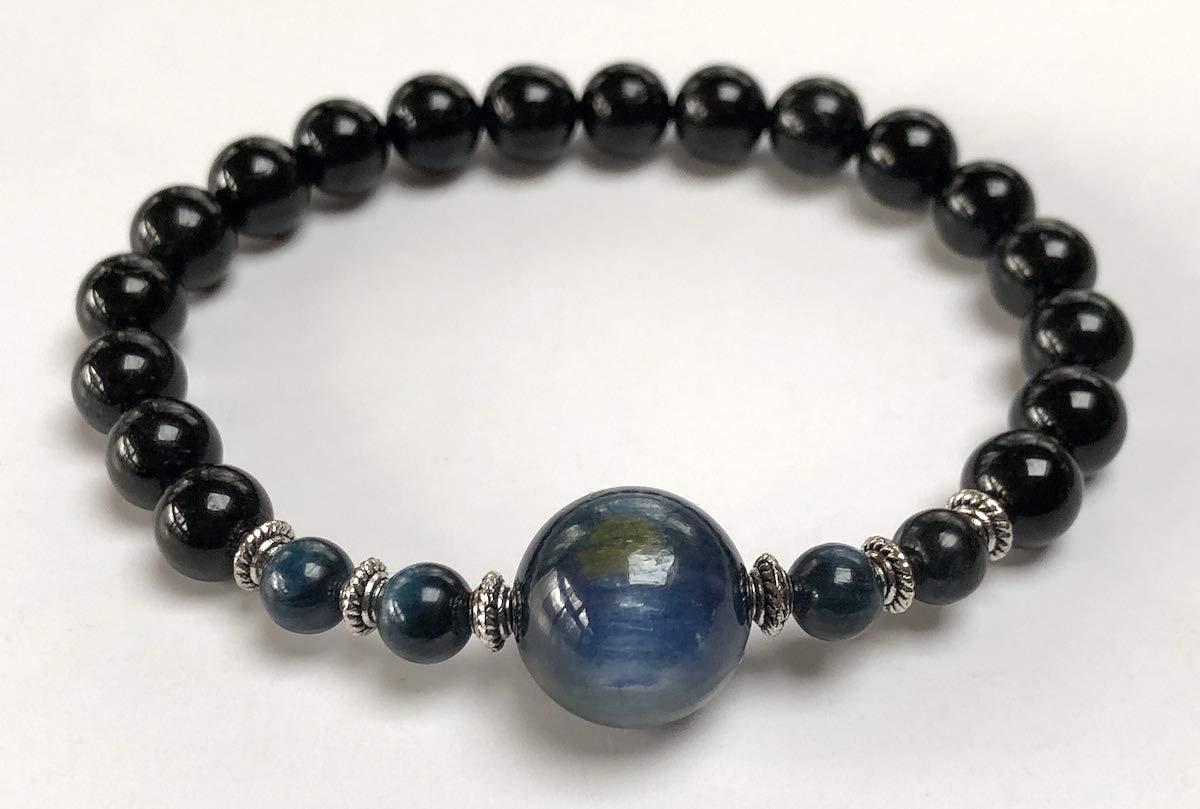 Genuine Natural Black Tourmaline Mala Beads Bracelet    8 mm Tourmaline    Black Tourmaline Jewelry (8 mm Black Tourmaline and 8 mm Kyanite Mala Beads Bracelet) by AWAKEN YOUR KUNDALINI (Image #3)