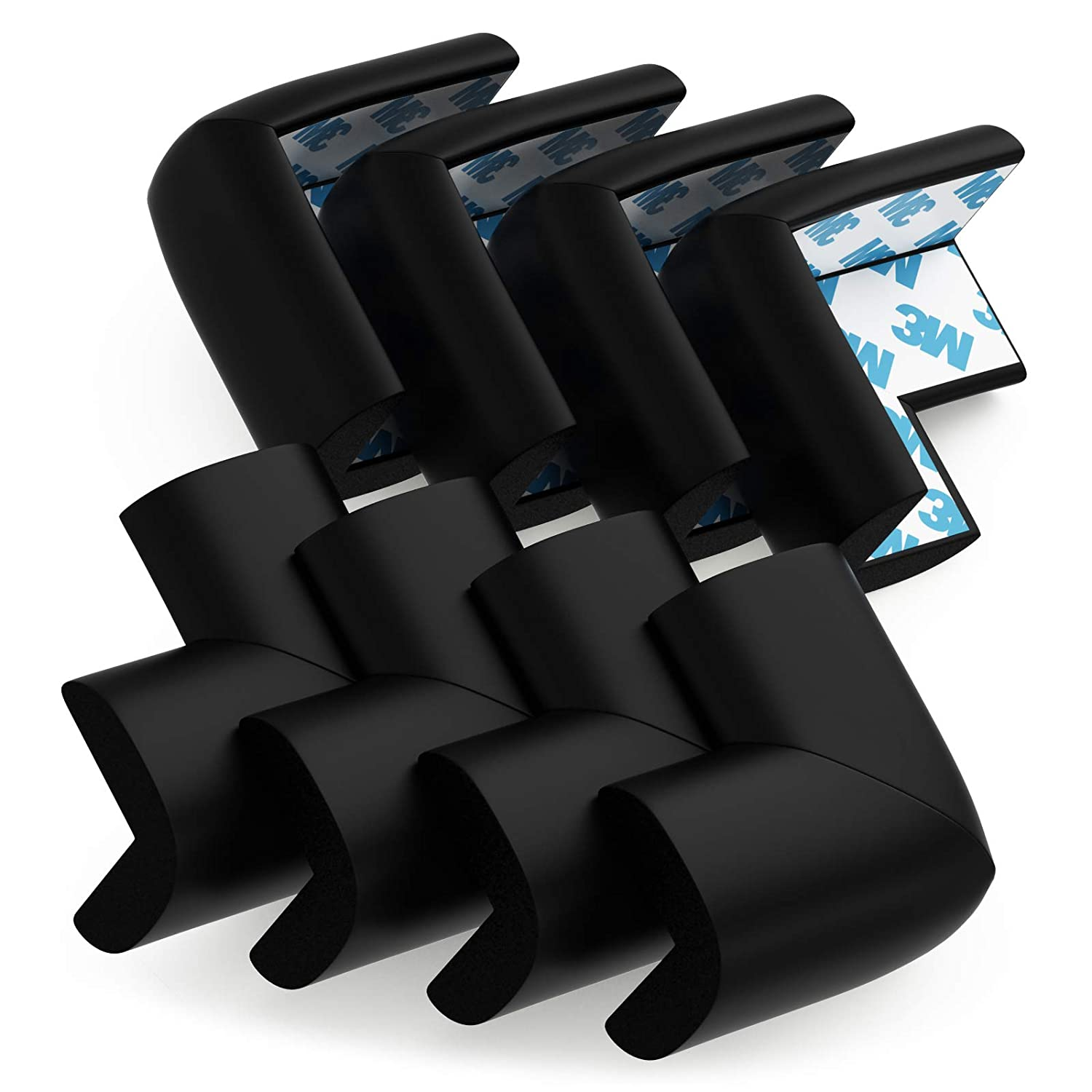 Table Corner Protectors for Baby Safety - Pre-Taped Sharp Corner Cushions to Prevent Head & Knee Injuries, 8 Pack, (Black)
