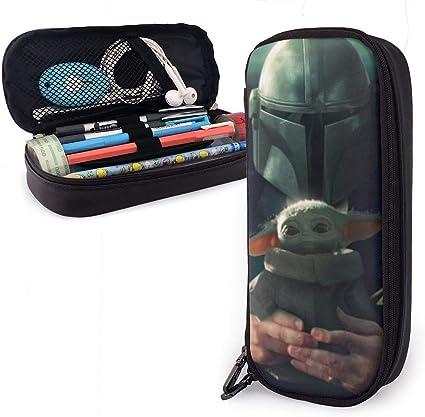 Star Wars - Estuche de piel con diseño de mandalorian Yoda, de gran capacidad, con cremallera duradera para artículos de papelería y otros suministros escolares: Amazon.es: Oficina y papelería