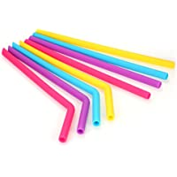 """Goolsky Esonmus 8pcs/set Colorful Silicone Straws 9.8"""" Reusable Straw 4 Bent 4 Straight Straws with 2 Cleaning Brush"""