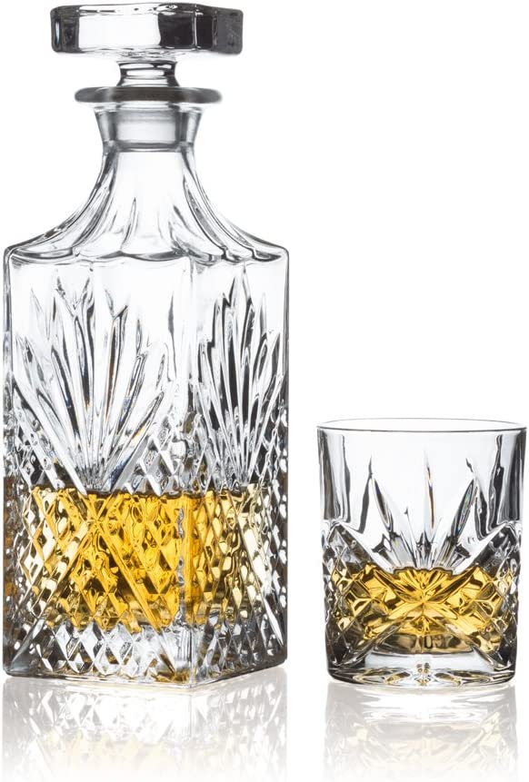 Brilliant Ashford Lead Free Crystal 5 Piece Whisky Set Whisky Decanter And Whisky Glasses Amazon Co Uk Kitchen Home