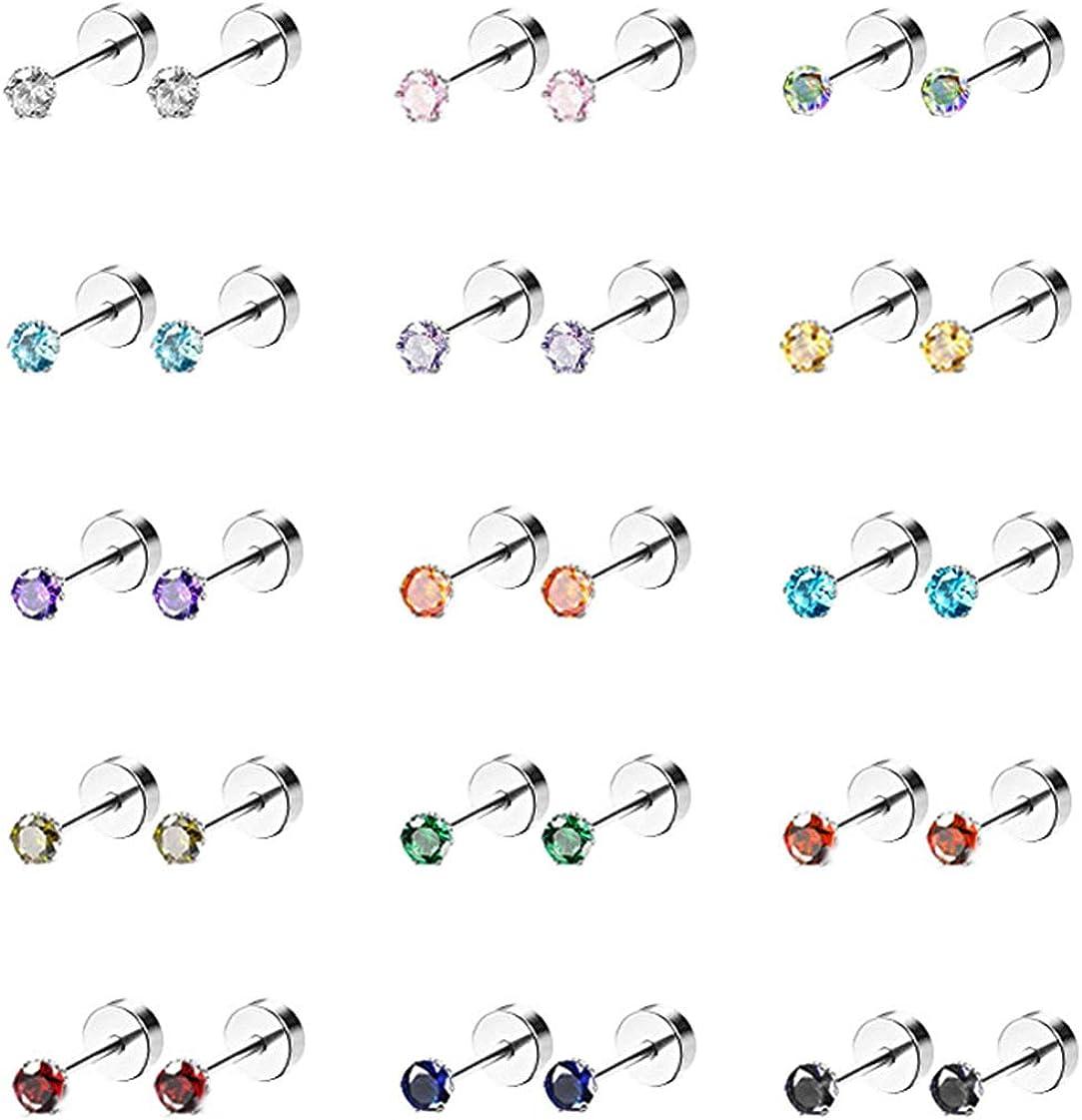 Masedy 15 Pairs 20G 316L Stainless Steel CZ Stud Earrings for Women Men Cartilage Screwback Earring Set 2-6mm