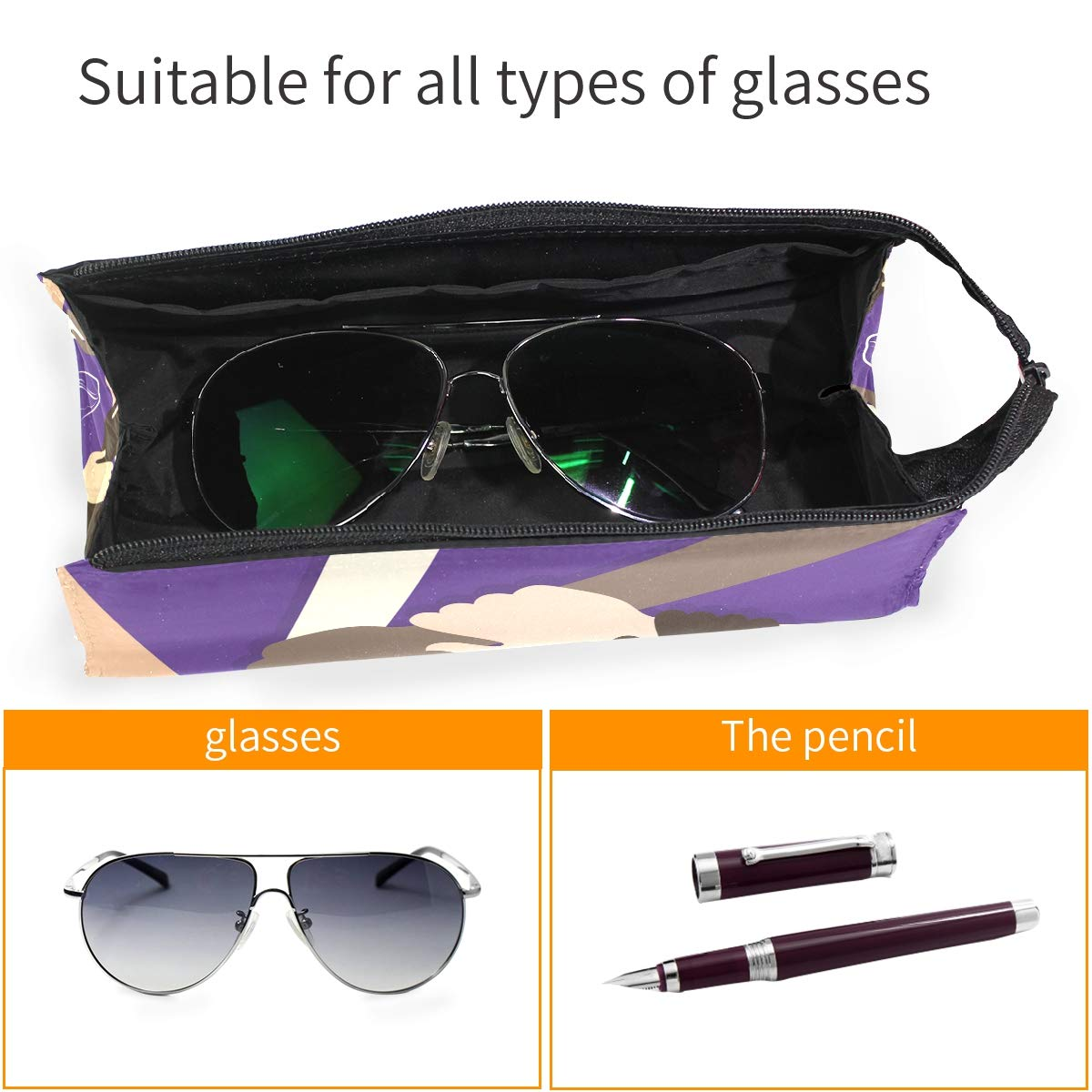 My Little Nest Eyeglass Sunglasses Holder Pouch Bag International Womens Day Multi Function Zipper Pen Case Pencil Bag Organizer