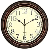 Foxtop 12 inch Silent Non-Ticking Round Classic Clock Retro Quartz Decorative Battery Operated Wall Clock for Living Room Kitchen Home Office (Bronze)