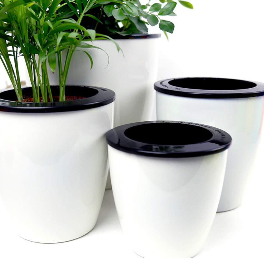 Mkono 3 Pack Self Watering Planter White Flower Pot, L by Mkono