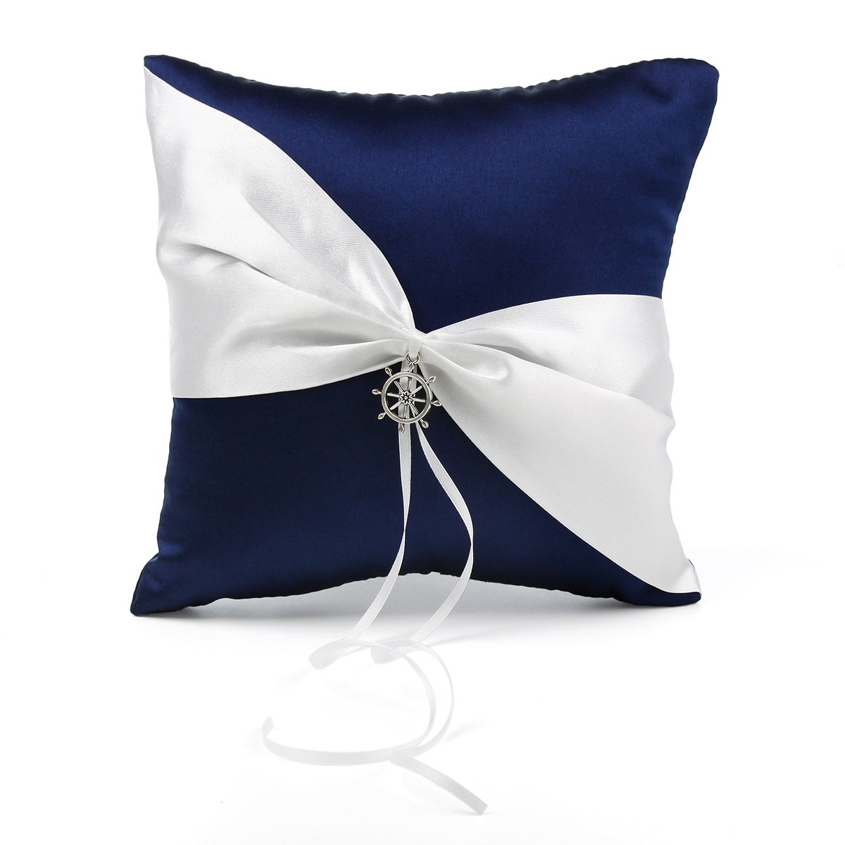 OnePlace Gifts Exclusive Navy Blue Satin Charms Wedding Ring Pillow Bearer 7.8'' (Anchor Aways)