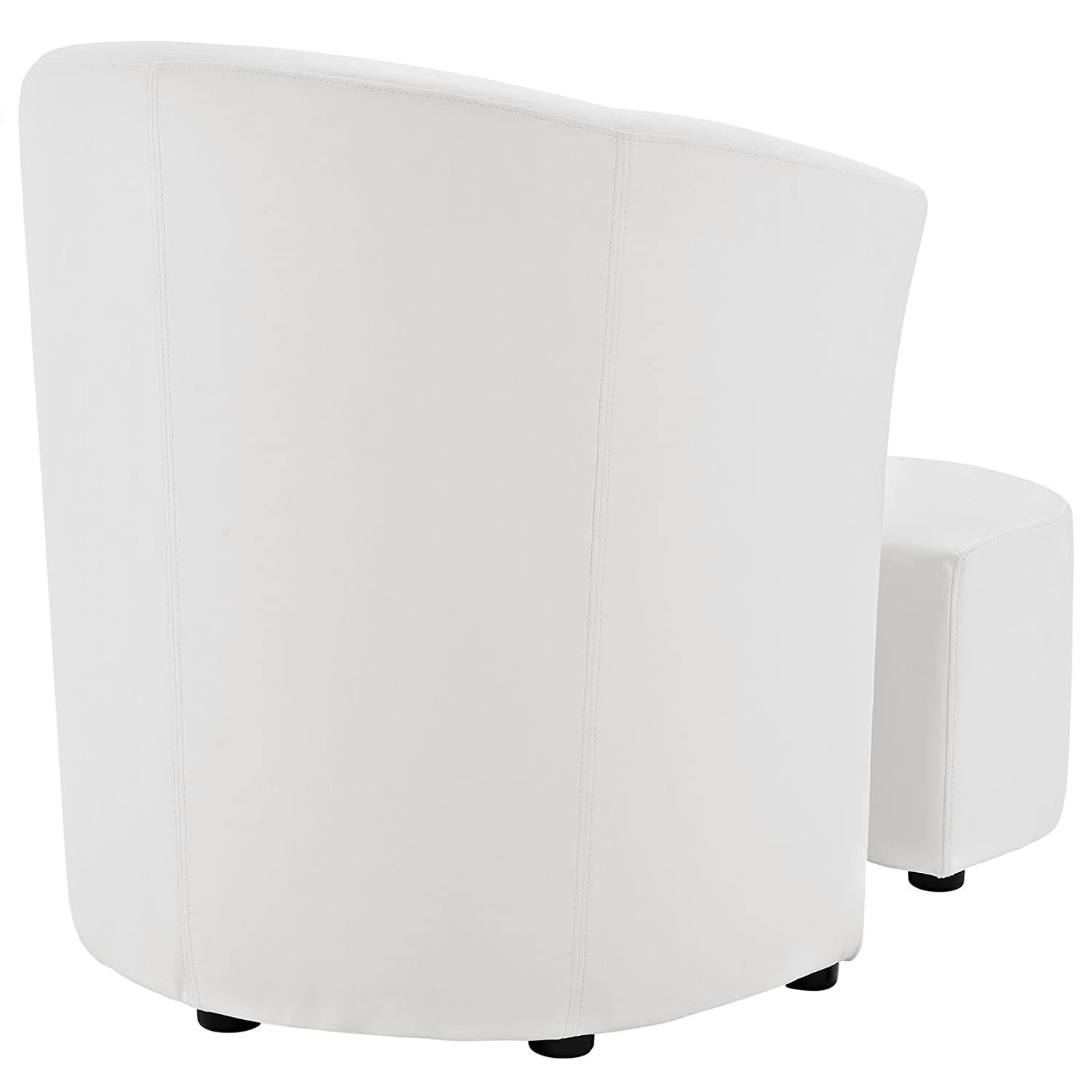 White Armchair With Ottoman #33 - Amazon.com: Modern Contemporary Armchair And Ottoman, White Faux Leather:  Kitchen U0026 Dining