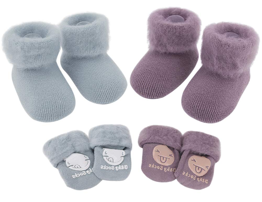 2 Pairs Thicken Non Slip Baby Socks with Grips Girls Boys Toddler Thermal Ankle Bootie Socks Kids Walking Socks Winter Warm Snow Socks Baby Shower Christmas Gift 1-3 Years