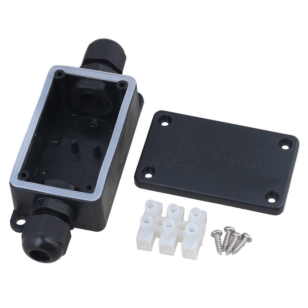 Verteilerdose f/ür 2 Kabel mit Anschluss schwarz CNBTR IP65 Kabelmuffe Kunststoff Schwarz wasserdicht