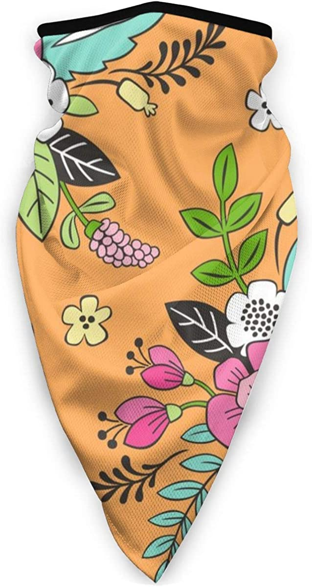 Wind-Resistant Face Mask/& Neck Gaiter,Balaclava Ski Masks,Breathable Tactical Hood,Windproof Face Warmer for Running,Motorcycling,Hiking-Spring Flowers Pink On Orange