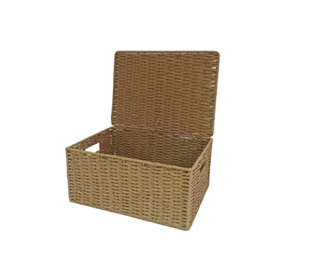 Arpan Natural Paper Rope Storage Basket Box With Lid (Medium)