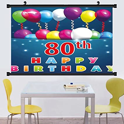 Gzhihine Wall Scroll 80th Birthday Decorations Abstract Backdrop With Party Cake And Candles Hanging