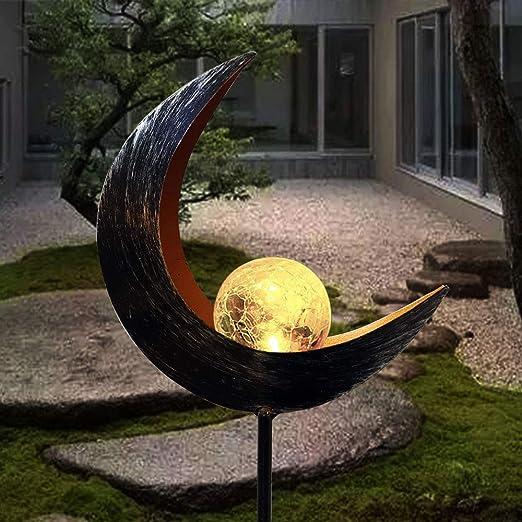 Luces solares Jardín al aire libre, lámparas solares de luna, lámpara LED de metal a prueba de agua, decoración de iluminación suave para pasarela, patio, césped, patio (1 PC): Amazon.es: Iluminación