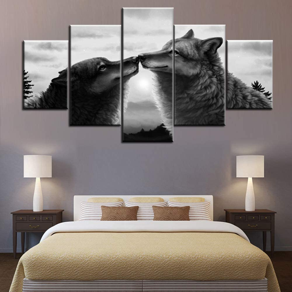 Animal Milwaukee Mall Canvas Wall Art Wildlife Pictures Living for Wolves Room Elegant