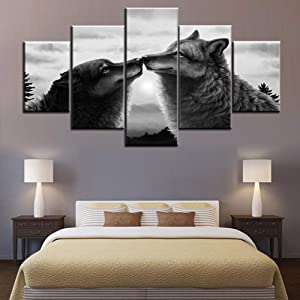 Animal Canvas Wall Art Wildlife Wolves Pictures for Living Room Fantasy Black and White Paintings Multi Piece Wolf Forest Artwork Modern Home Decor Giclee Framed Stretched Ready to Hang(60''Wx32''H)