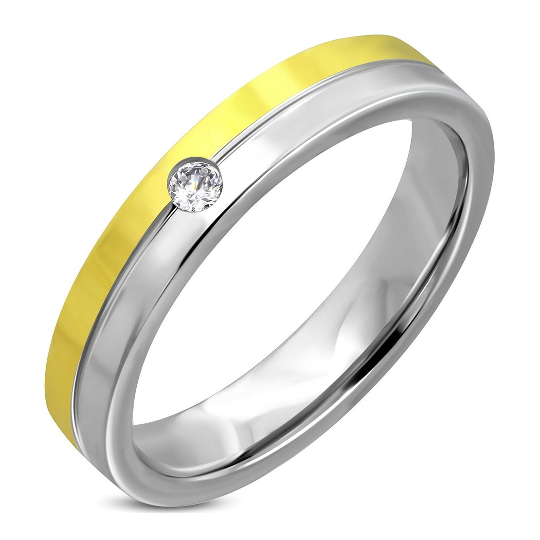 Stainless Steel 2 Color Center Grooved Comfort Fit Wedding Flat Band Ring with Clear CZ