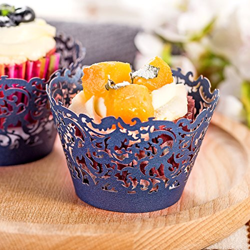 DIYxin 60Pcs Lace Cupcake Wrappers+ 60Pcs White Cupcake Liners, Standard Size for Wedding, Birthday Party, Navy Blue
